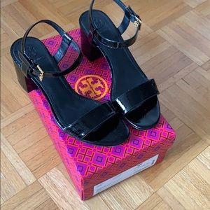 Tory Burch Laurel Black Patent sandal. Worn 1X